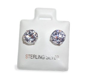 Womens 7 MM Round Brilliant Cut Cubic Zirconia Sterling Silver Stud Post Earrings