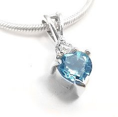 Sterling Silver Blue Topaz Heart and White CZ Pendant and 16 Chain Necklace Gift Boxed