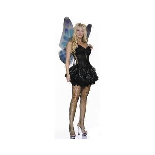 Sexy girl in Sexy 3 Piece Gothic Pixie Costume WITH Petticoat (Or without) - WINGS included