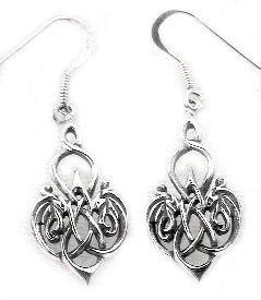 CELTIC KNOT Heart Sterling Silver Hook Earrings