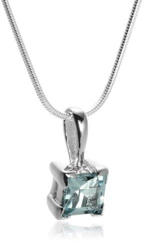 Sterling Silver Blue Topaz Princess Cut Pendant & Earrings Set