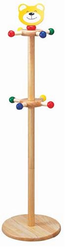 A cute bear clothes stand for children. 8 pegs. Bear's head on the top of a wooden pole.