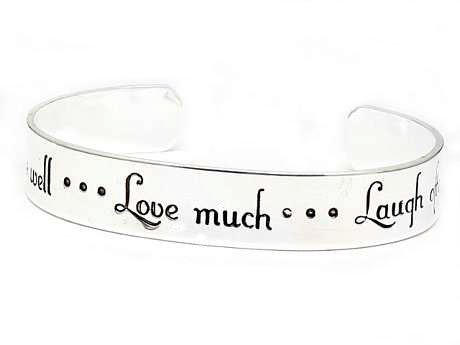 Live Well..Love Much..Laugh Often Inspirational Message Silver Tone Metal Cuff Bracelet