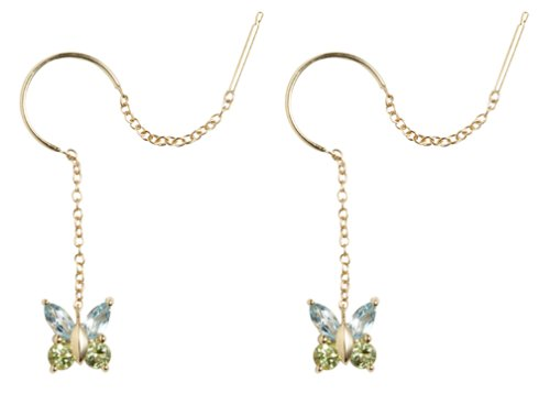 14k Yellow Gold Blue Topaz and Green Peridot Butterfly Earrings
