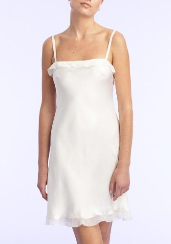 Vera Wang Ruffled Short Satin Gown Sleepwear