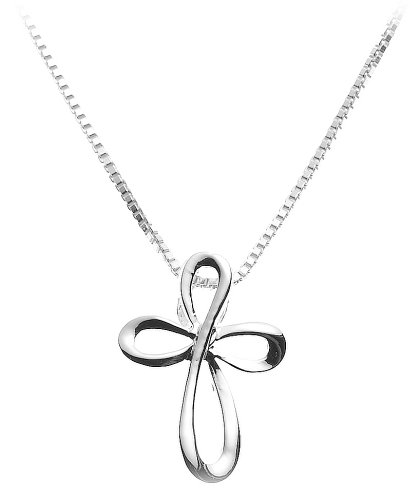 Sterling Silver Eternity Cross Pendant, 18\