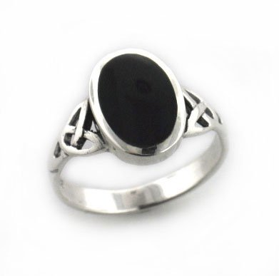 Sterling Silver Black Onyx Celtic Knot Ring