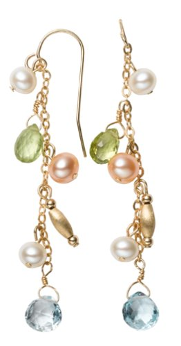 14k Yellow Gold Freshwater Cultured Pearl, Peridot, and Blue Topaz Earrings