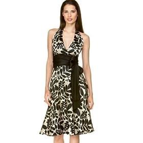 Leaf-Print Silk Halter Dress