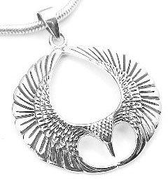 Winged Sterling Silver Spread Open Phoenix Wing Pendant