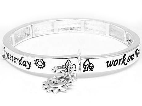 Let Go of Yesterday, Dream of Tomorrow, Work on Today Sun Charm Silver Tone Stretch Bangle Bracelet