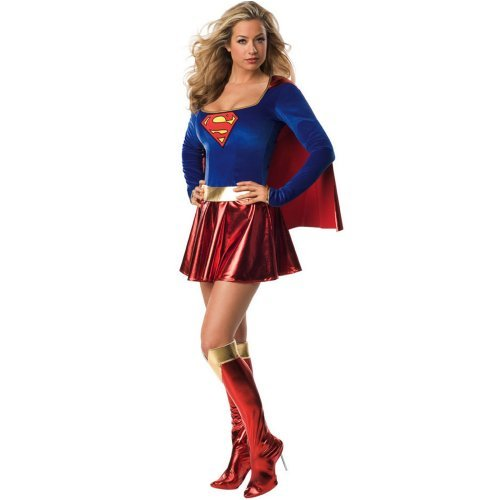 Sexy girl in Supergirl Deluxe 1-Piece Adult Costume