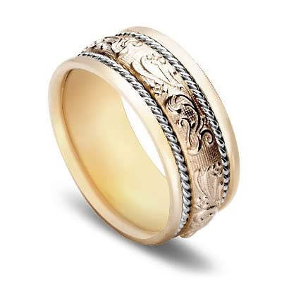 Wedding Ring Store 14k Gold Two Tone Antique Women 39 S Wedding Band 10 Mm