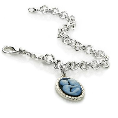 Sterling Silver Rolo Link Bracelet w/ Cameo Charm - 7.5\