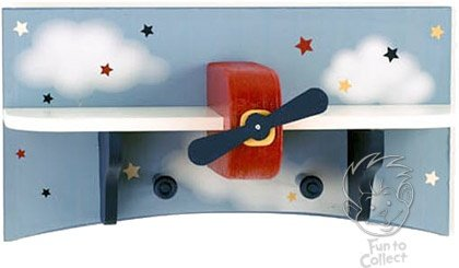 Lambs and Ivy Baby Aviator Wooden Airplane Wall Shelf