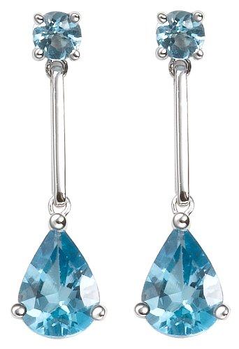 14k White Gold Swiss Blue Topaz Teardrop Earrings