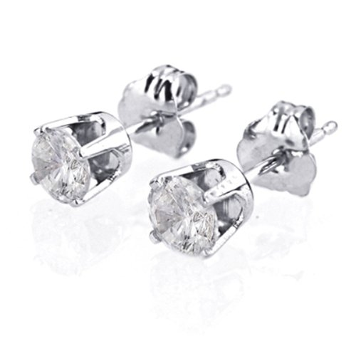 14k White Gold, Round, Diamond Stud Earrings