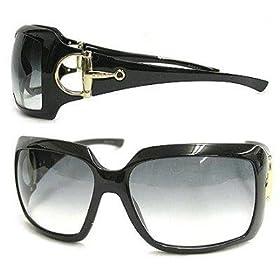 Gucci 2562 Horse Shoe Buckle Sunglasses BLACK 100% Authentic New
