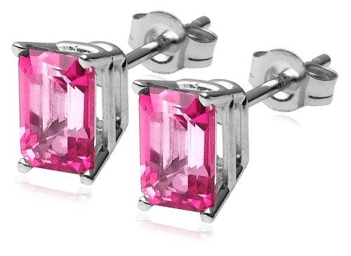 14k White Gold Treated Pink Topaz Earrings