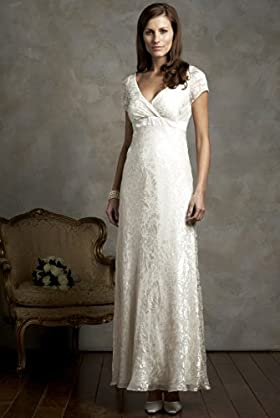 wedding gown dress with short sleeves and wrap v neck
