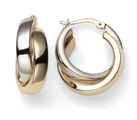 14k Yellow and White Gold Crossover Hoop Earrings