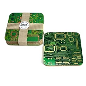 Recycled Circuit Board Coasters Gift Set (9cm x 9cm x 0.5cm): Kitchen & Home