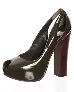 bebe.com : Thandie Leather Peep-Toe Platform Heel