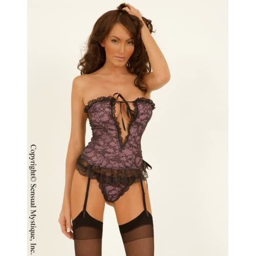 V-cut front corset with adjustable garter belt