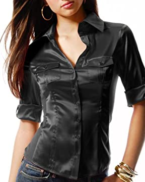 bebe.com : Silk Charmeuse Blouse with Ribbed Side Insets :  blouse silk ribbed charmeuse