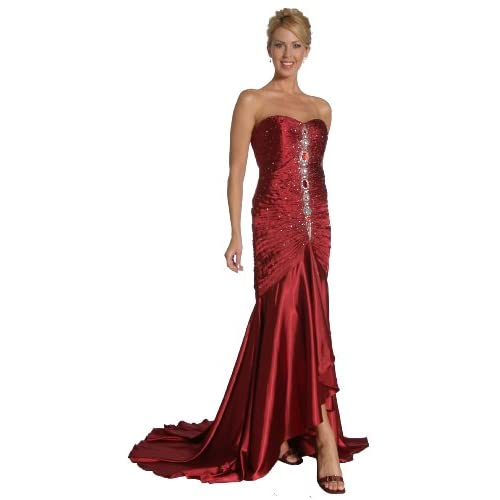 Long Strapless Prom Gown