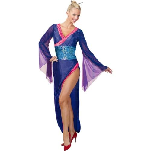 Sexy Girls Costumes : Adult Blue Sexy Geisha Costume
