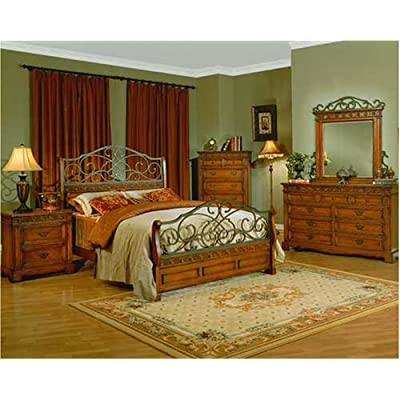 Rustic Old World Iron Wood Queen Master Bedroom Furniture Set