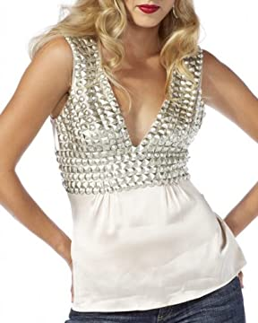 bebe.com : Beaded Silk Charmeuse Top