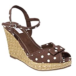 Target : Xhilaration® Tessie Polka Dot Basket Weave Wedges - Brown from target.com