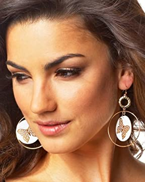 bebe.com : Butterfly/Shell Hoop EarringsNow 30% Off! from bebe.com