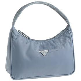 Prada Women's MV515 Nylon Handbag, Blue