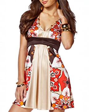 bebe.com : Ruched Waistband Silk Halter Dress from bebe.com