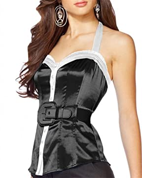 bebe.com : Belted Silk Halter Top :  womens clothes design designer belted silk halter top