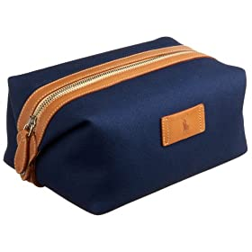 Ralph Lauren Men's Canvas Dopp Kit with Leather Trim, Blue