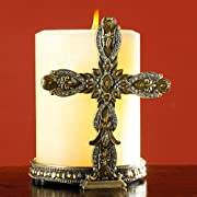 Bombay > Accessories > What's New :  cross jeweled bombay pillar candles