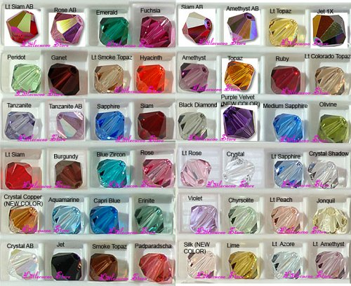 Wholesale lot 500 Bicone 4mm Swarovski 5301 Crystal Beads 25colors