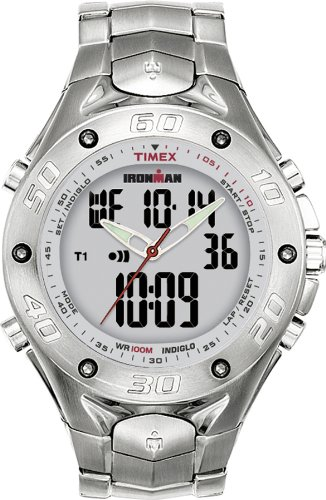 Full size 42-Lap Ironman Triathlon combo. INDIGLO night-light. Digital screen can be turned on and off. 24-hour chronograph with lap and split. 42-lap memory recall. 3 interval timers settable up to 1