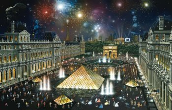 American Puzzles, The Louvre-Paris, France Puzzle, 1000 Pieces Puzzle by SunsOut Puzzles