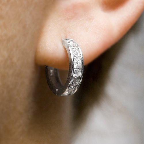 1 Carat Sterling Silver CZ Hoop Earrings
