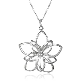 Sterling Silver Open Double Flower Pendant from amazon.com