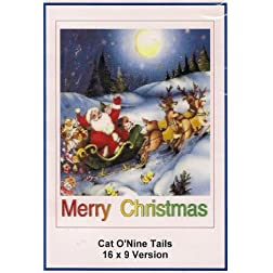 Cat O'Nine Tails 16x9 Widescreen TV: Greeting Card: Merry Christmas