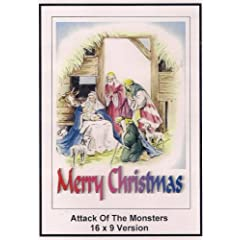 Attack Of The Monsters: Widescreen TV: Greeting Card: Merry Christmas
