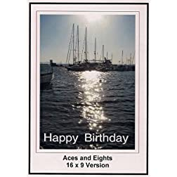 Aces and Eights: 16x9 Widescreen TV.: Greeting card: Happy Birthday