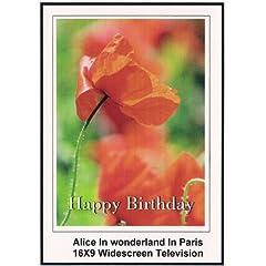 Alice In Wonderland in Paris: Widescreen TV.: Greeting Card: Happy Birthday