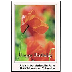 Alice In Wonderland in Paris: Widescreen TV.: Greeting Card: Happy Birthday